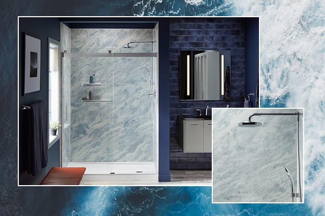 Photo of Bluette shower walls and ocean inspiration