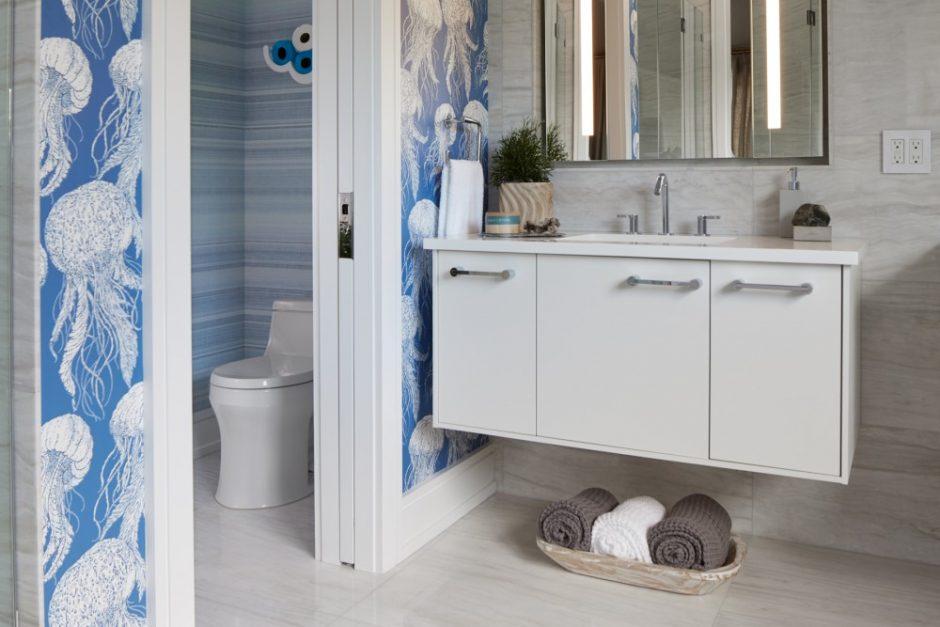 bathroom with jellyfish wallpaper