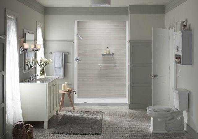 Neutral bathroom with VeinCut Dune shower walls