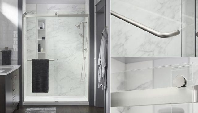 Close up of glass shower door