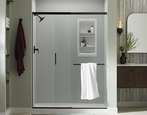 Walk-In Shower with Seat | KOHLER® LuxStone Shower