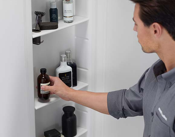 Shower Storage | KOHLER® LuxStone Shower