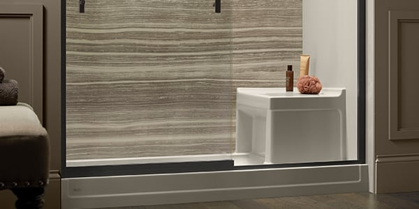Tresham Shower Base With Seat | KOHLER® LuxStone Shower