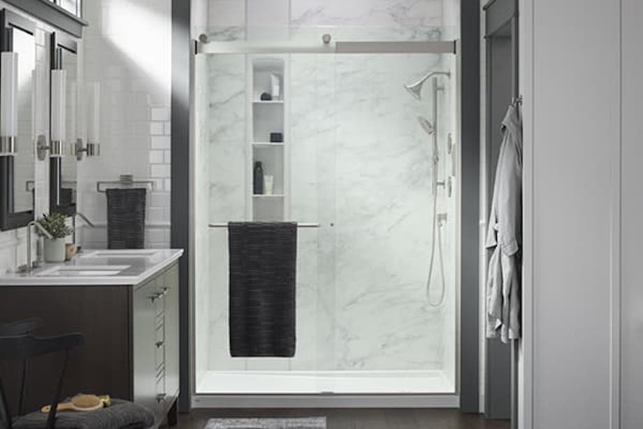 LuxStone Sliding Barn Door | KOHLER® LuxStone Shower