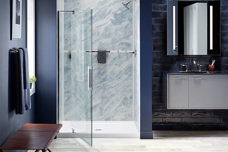 Glass Shower Door | Shower Enclosure | KOHLER® LuxStone Shower