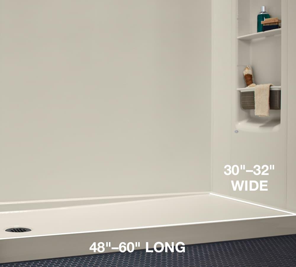 Shower Base Dimensions | KOHLER® LuxStone Shower